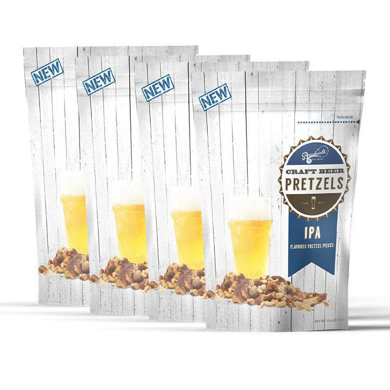 IPA FLAVORED CRAFT BEER PRETZELS 8OZ (PACK OF 4)