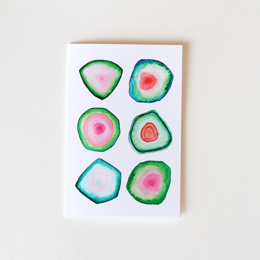 Watermelon Tourmaline Greeting Card
