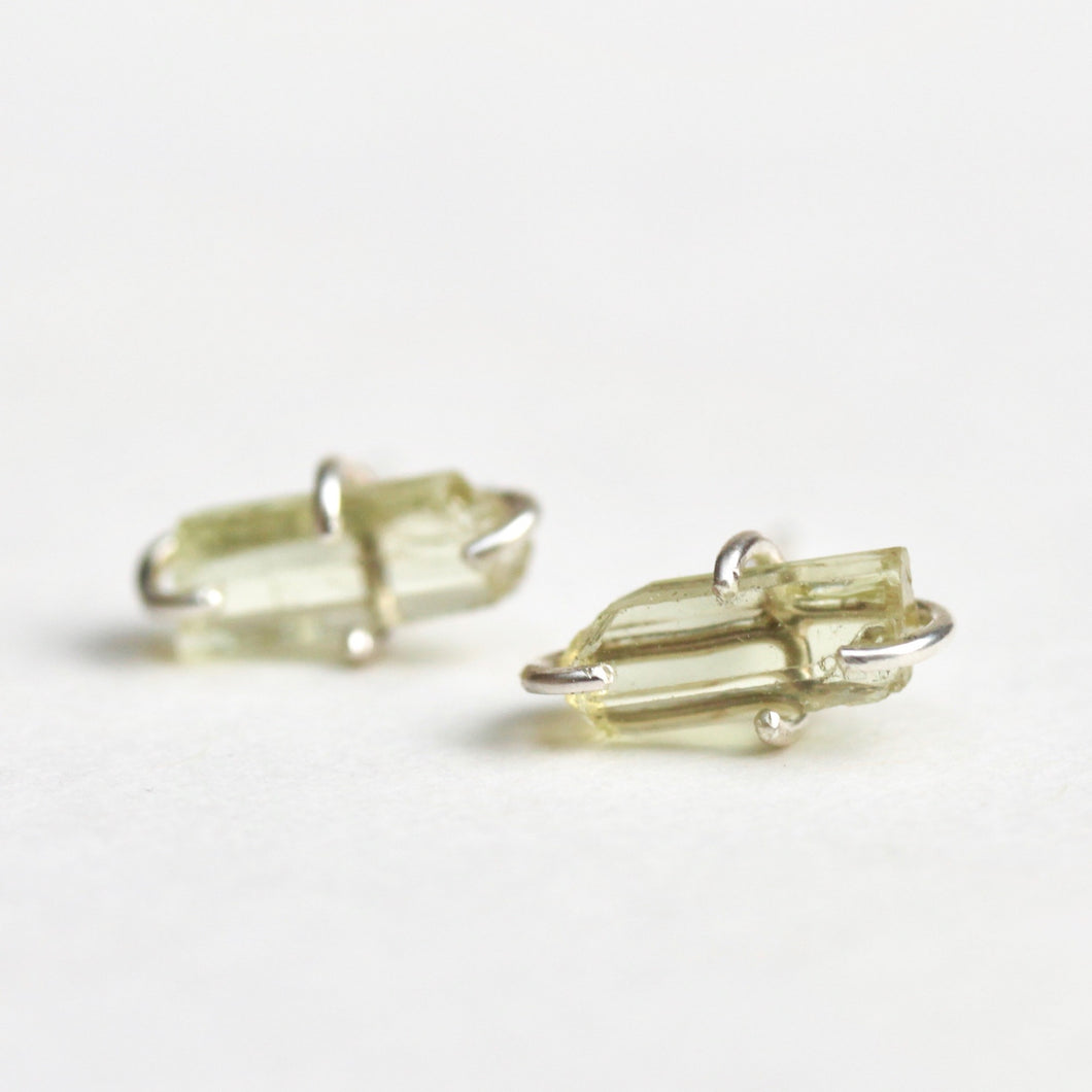 Raw Green Apatite Stud Earrings