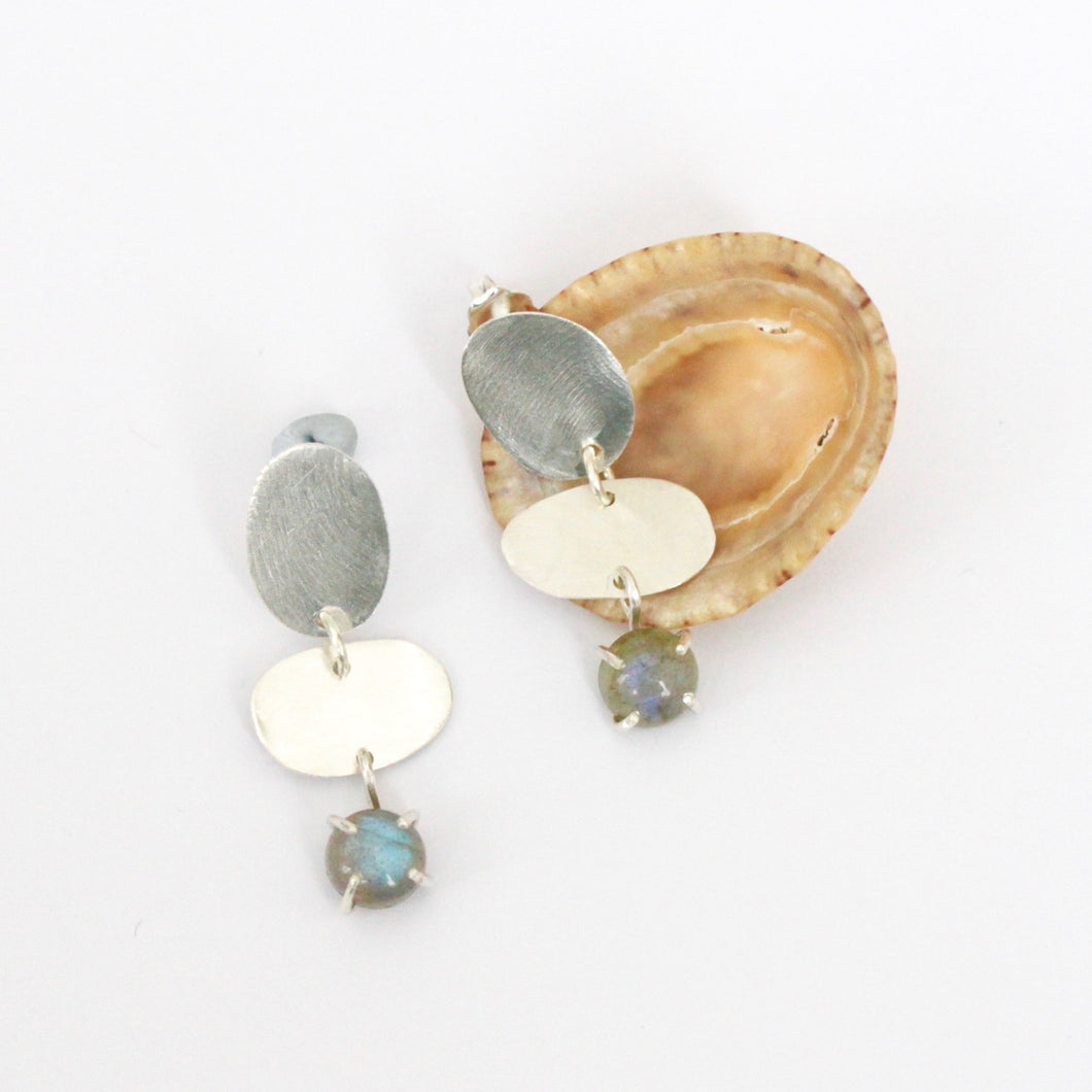 Labradorite Oval Ladder Earrings