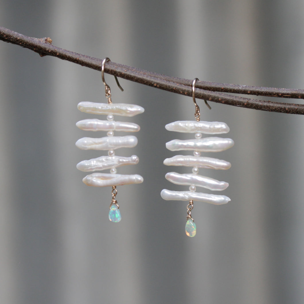 Pearl Fishbone Earrings