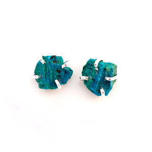 Raw Chrysocolla Studs