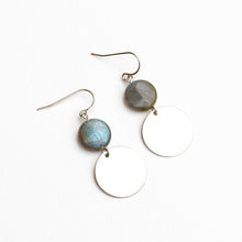 Load image into Gallery viewer, Labradorite Dot Earrings