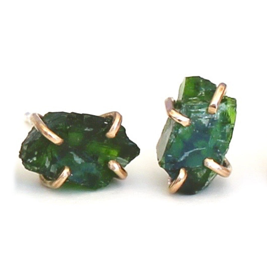 Raw Chrome Diopside Studs