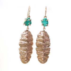 Chiton Earrings with Raw Turquoise