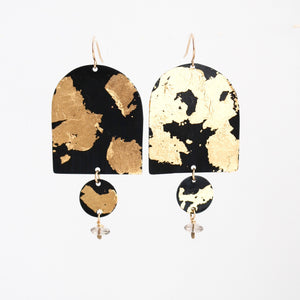 Mixed Metal Elongated Dome Earrings