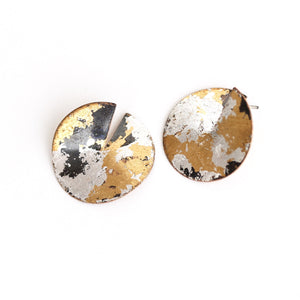 Mixed Metal Wedge Earrings