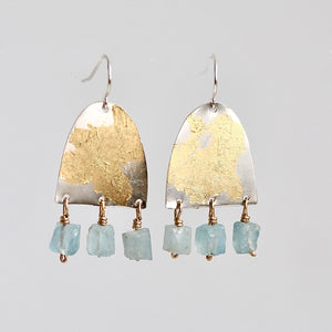 Mixed Metal Aquamarine Earrings