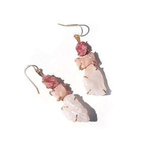 Rose Quartz and Spinel Ladder Earrings