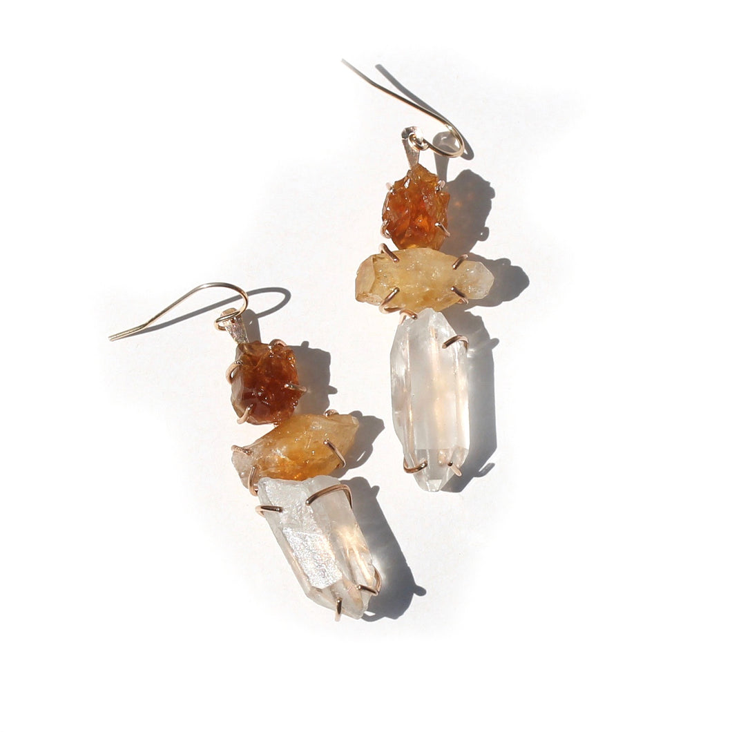 Citrine and Quartz Point Ladder Earrings