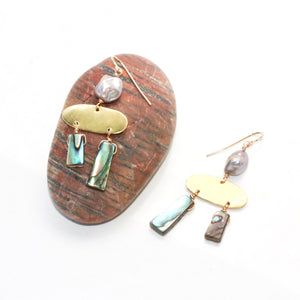 Mini Jazz Earrings with Paua and Pearl