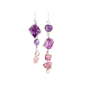 Fanciful Pink Tourmaline and Fluorite Earrings