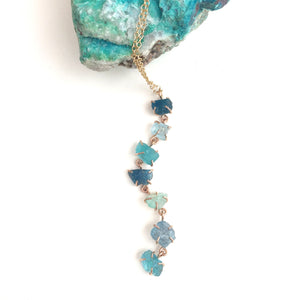 Blue Tones Waterfall Necklace