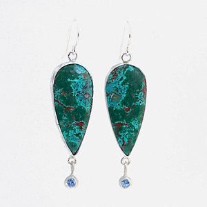 Chrysocolla with Cuprite and Tanzanite Earrings