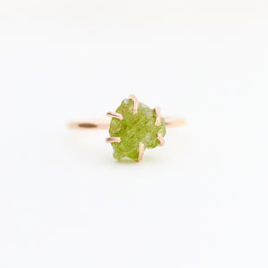 Raw Peridot Stacker Ring