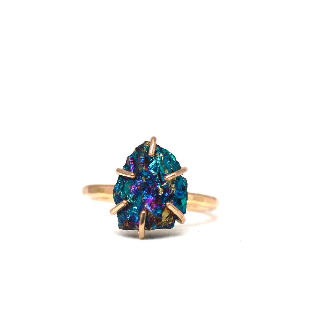 Raw Peacock Pyrite Stacker Ring
