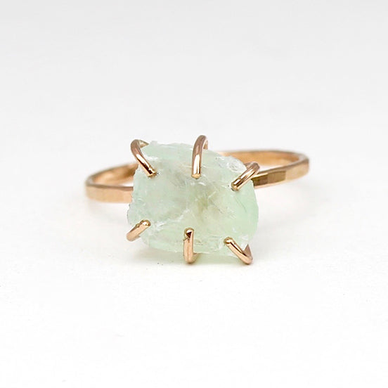 Raw Green Calcite Stacker Ring