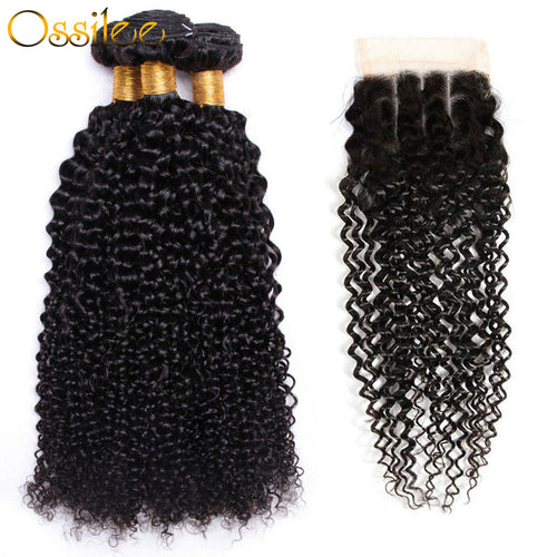 Afro Curl 3Pcs With Lace Closure 9A Unprocessed Afro Curl Virgin Hair Bundles - Ossilee Hair