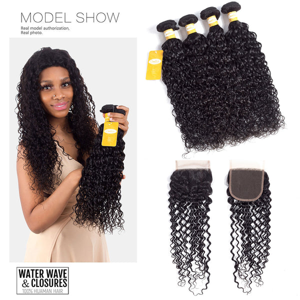 4 Bundles With 1Pc Closure Brazilian Water Wave 100% Human Hair Weave Bundles - Ossilee Hair