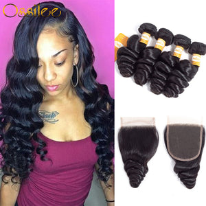 Real 9A Grade 4 Bundles With 1Pc Closure Brazilian Loose Wave 100% Virgin Human Hair Weave Bundles - Ossilee Hair