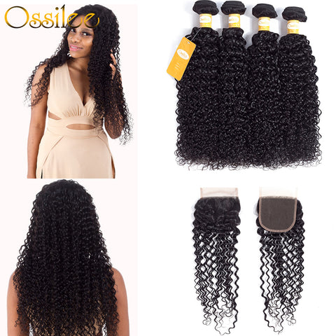 Thicker Peruvian Kinky Curly 4Bundles With 1Pc Closure With Lace Closure 9A - Ossilee Hair