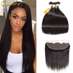 9A Ossilee 3Bundles With 13x4 Pre-Plucked Lace Frontal Natural Color Straight 100% Human Hair Weave - Ossilee Hair