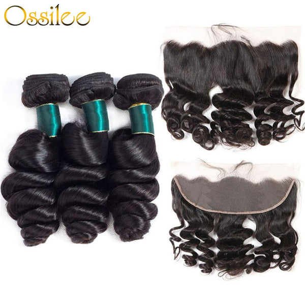 9A Grade Malaysian Loose Wave 3Bundles With 13x4 Pre-Plucked Lace Frontal 100% Human Hair - Ossilee Hair