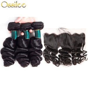 Brazilian Loose Wave 9A Grade 3Bundles With 13x4 Pre-Plucked Lace Frontal Natural Color 100% Human Hair - Ossilee Hair