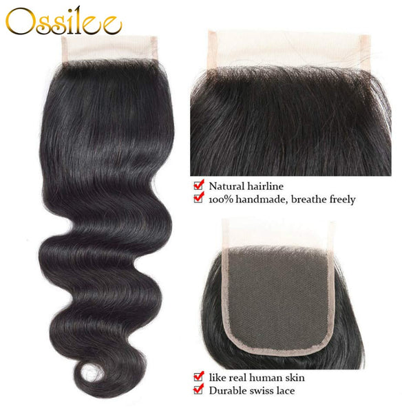 Peruvian 3Bundles With Lace Closure Deals Peruvian Body Wave Hair With 4x4 Lace Closure 8A Peruvian Remy Hair - Ossilee Hair