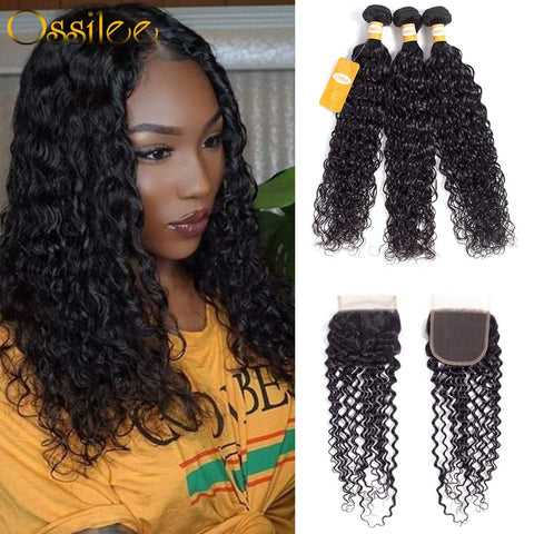 9A Grade Peruvian Water Wave With Lace Closure Virgin Human Hair - Ossilee Hair