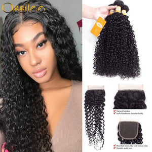 Kinky Curly 3Pcs With Lace Closure 9A Grade Unprocessed Peruvian Human Hair Bundles - Ossilee Hair