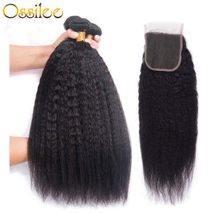 Kinky Straight 3Pcs With Lace Closure 9A Grade Brazilian Human Hair Weave Bundles - Ossilee Hair