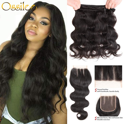Peruvian Body Wave With Lace Closure 5Pcs/lot Peruvian Human Hair Bundles Remy Body Wave - Ossilee Hair
