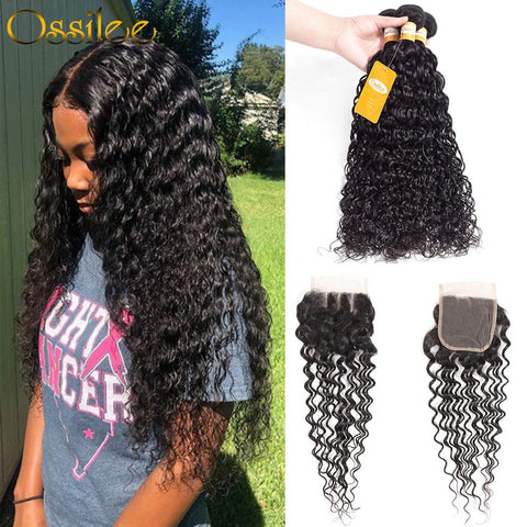 Unprocessed 3Pcs Water Wave With Lace Closure 9A Soft Brazilian Remy Hair Bundles - Ossilee Hair