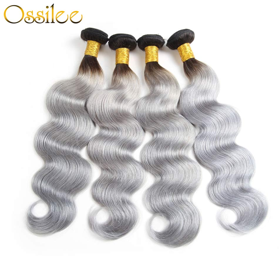 1B/grey Brazilian Body Wave 3pcs/lot Ombre Hair Body Wave Human Hair - Ossilee Hair