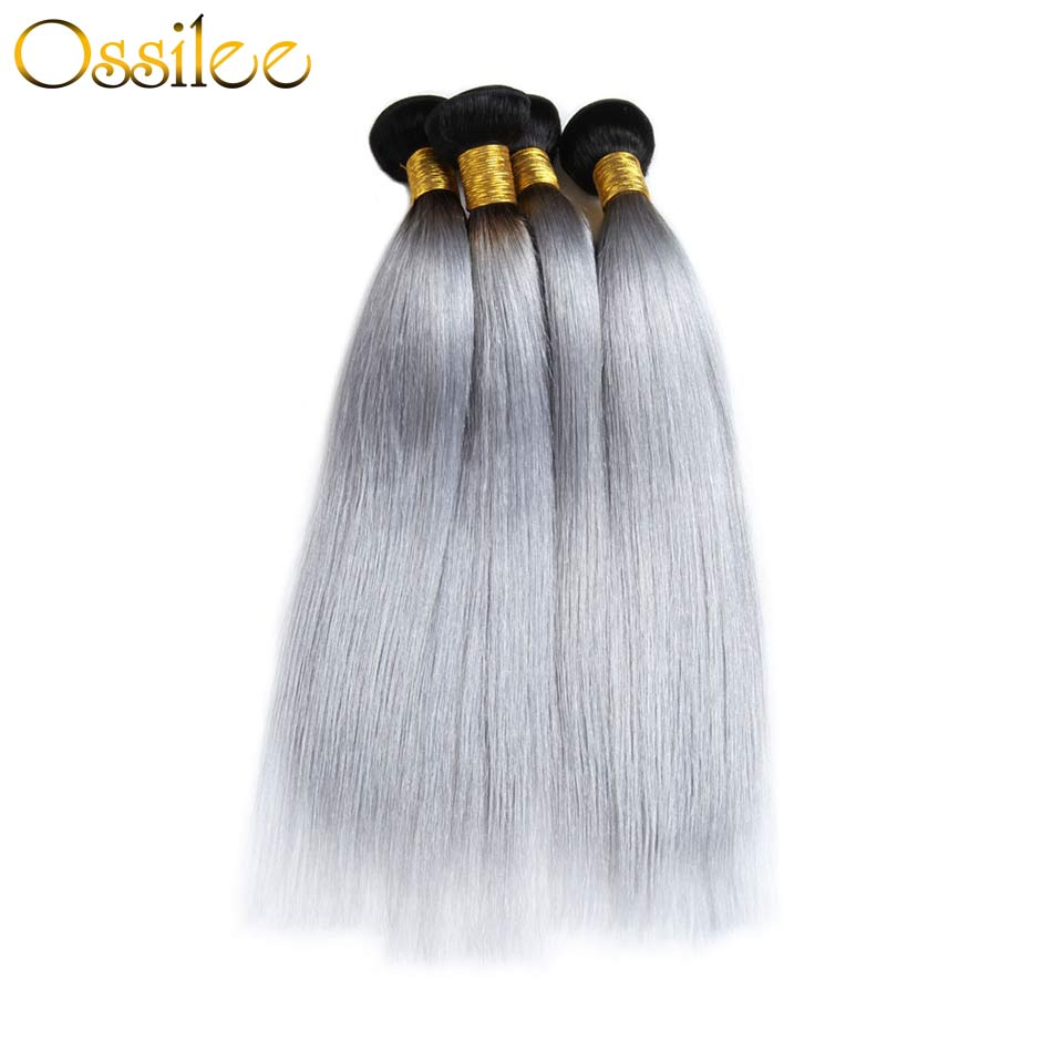 1B/grey Brazilian Straight 3 Bundles Remy Hair Weave Bundles - Ossilee Hair