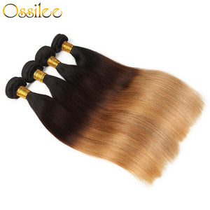 4 Bundles 1B/4/27 Ombre Brazilian Straight Human Hair Weave Bundles New Arrival - Ossilee Hair