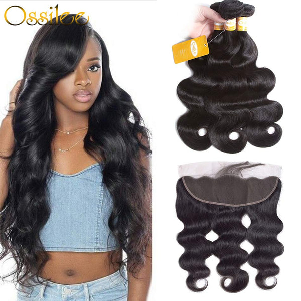 Peruvian Body Wave With 13x4 Lace Frontal 9A Grade Human Hair Can be dyed - Ossilee Hair