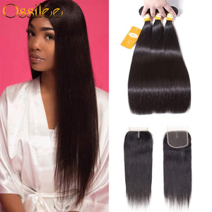 8A Brazilian Remy Hair With Closure 3 Bundles Brazilian Straight Hair With 4x4 Lace Closure - Ossilee Hair