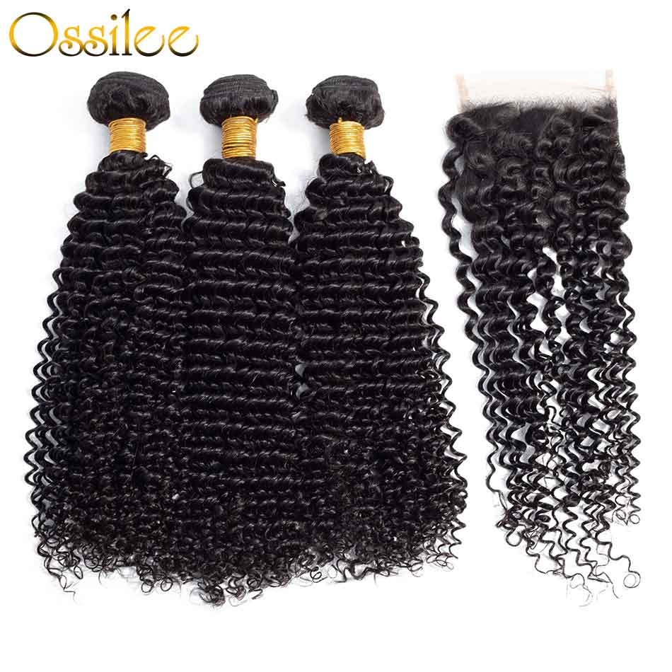 Top Quality 9A 3Pcs Jerry Curly With 4x4 Lace Closure Soft Indian Virgin Hair Bundles - Ossilee Hair