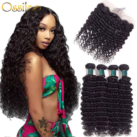 Real 9A Brazilian Deep Wave 2/3Bundles With 13x4 Pre-Plucked Lace Frontal 100% Human Hair Weave - Ossilee Hair