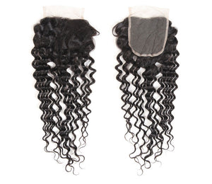 4x4 Water Wave Human Hair Lace Closure Middle Part,Free Part ,Three Part - Ossilee Hair