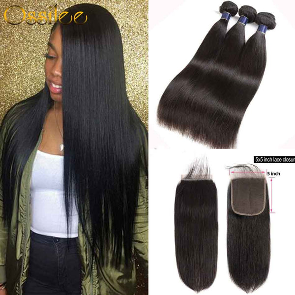 5x5 Lace Closure With Hair Bundles New Arrival Brazilian Straight Hair With 5x5 Lace Closure - Ossilee Hair