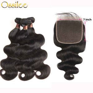7x7 Lace Closure With Hair Bundles New Arrival Brazilian Body Wave With 7x7 Lace Closure - Ossilee Hair
