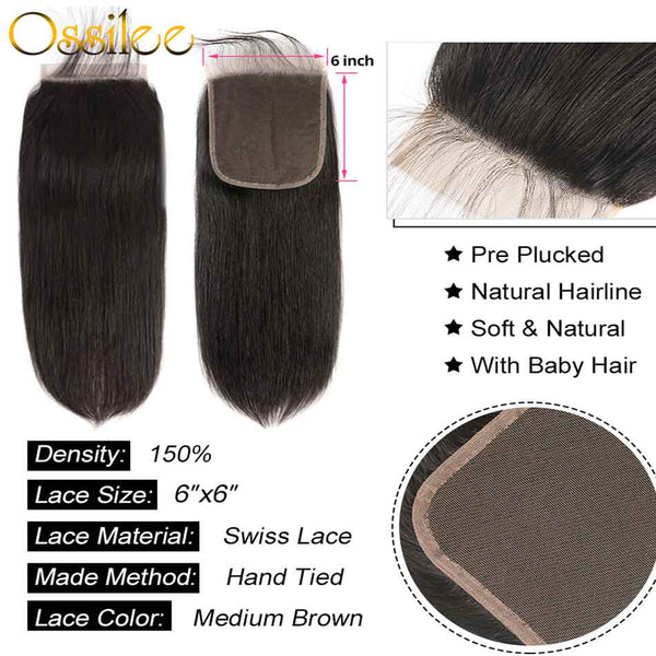 6x6 Lace Closure With Hair Bundles New Arrival Brazilian Straight Hair With 6x6 Lace Closure - Ossilee Hair