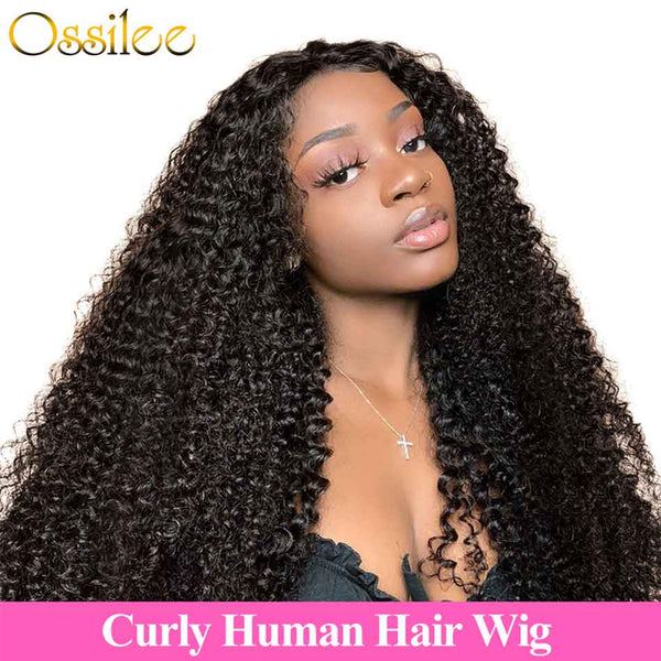 13x4 Pre-Plucked Lace Front Curly Wig 180% Density Kinky Curly Lace Frontal Wig - Ossilee Hair