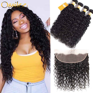 8A Water Wave 3Bundles With 13x4 Pre-Plucked Lace Frontal Natural Color 100% Human Hair Weave - Ossilee Hair