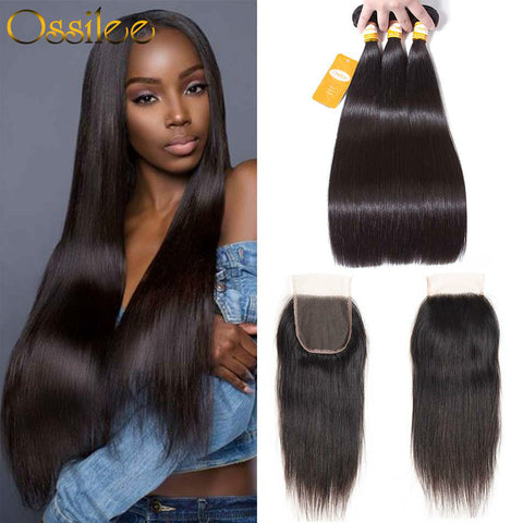Peruvian Virgin Hair With Closure 3 Bundles 9A Peruvian Straight Hair With 4x4 Lace Closure - Ossilee Hair