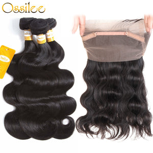 9A Brazilian Body Wave With 360 Lace Front 8-30inches 2Bundles With 1 Pc 360 Lace Closure - Ossilee Hair