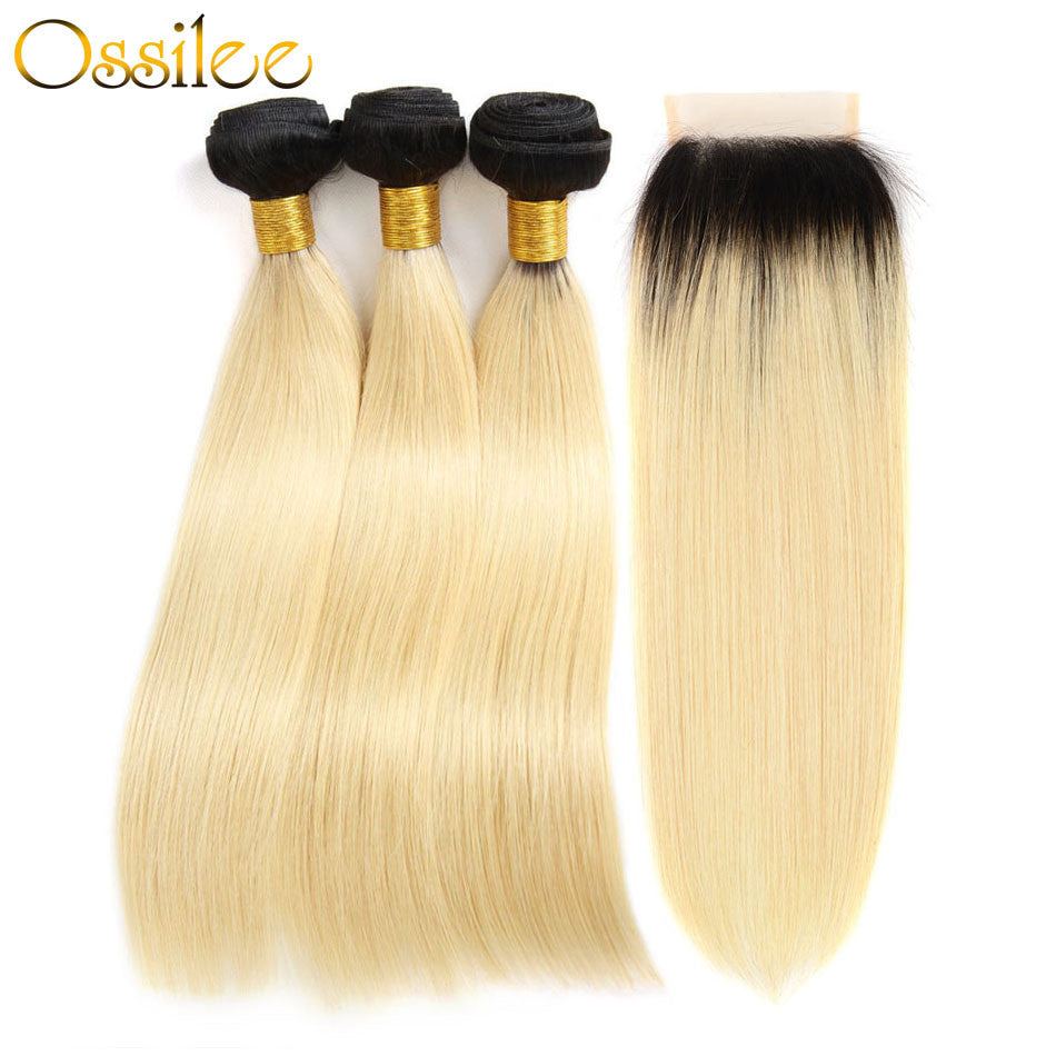 Brazilian Straight 3 Bundles With 1 Piece 1B/613 4x4 Lace Closure Shiny and soft Color Hair - Ossilee Hair